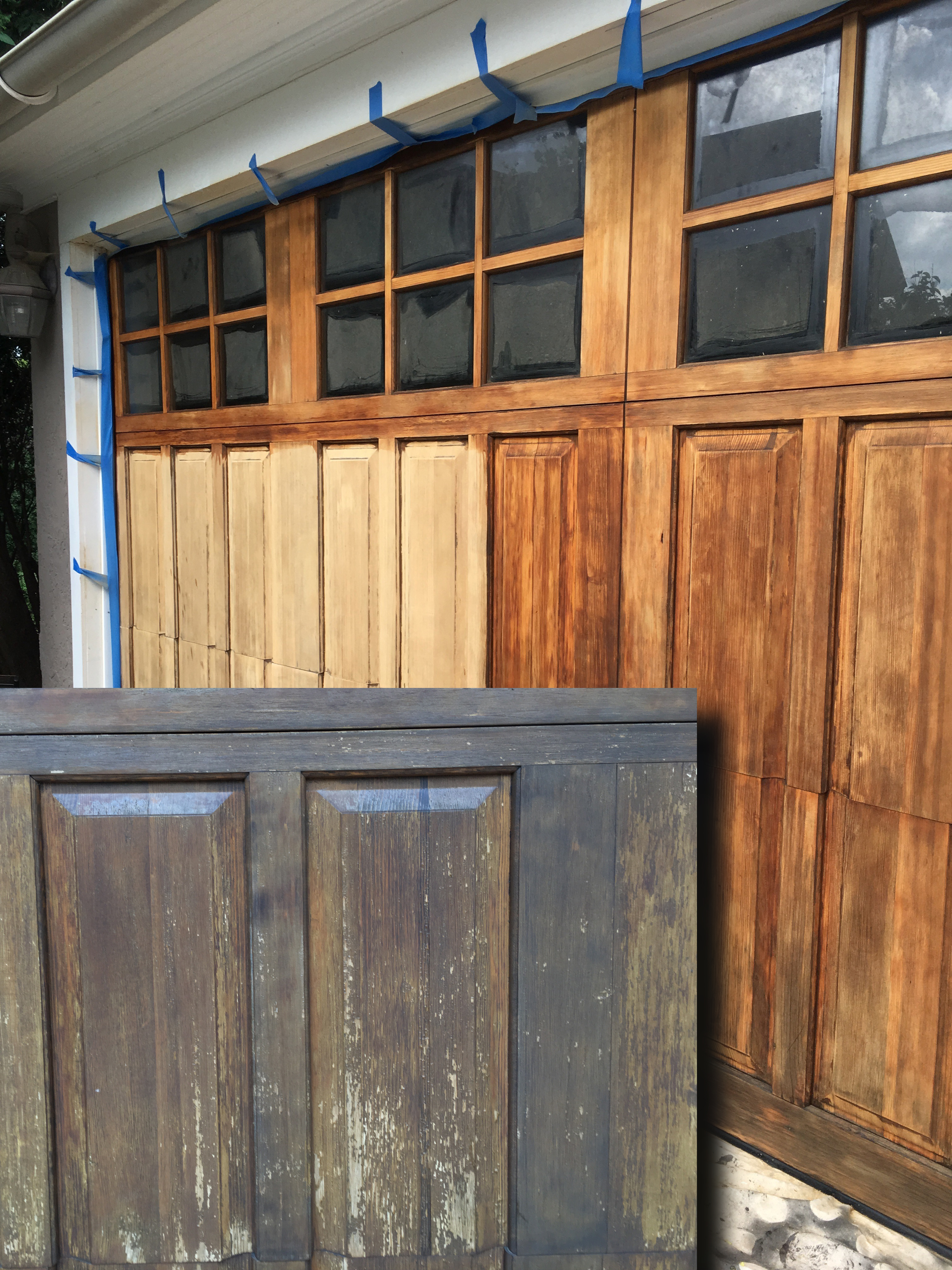 This Shows A Before And In Progress Refinishing Of A Garage Door That Was  In Need Of More Than Just Another Coat Of Varnish. Some Of The Rails And  Panels ...